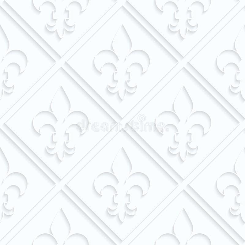 Fleur de lis de papier de Quilling avec la grille illustration de vecteur