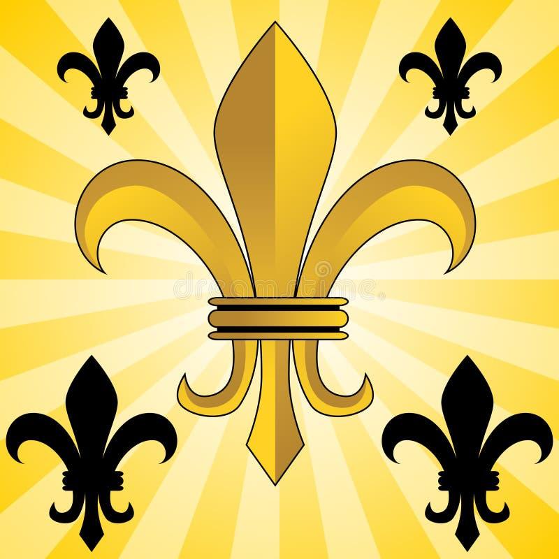 Fleur-De-Lis dorato illustrazione vettoriale