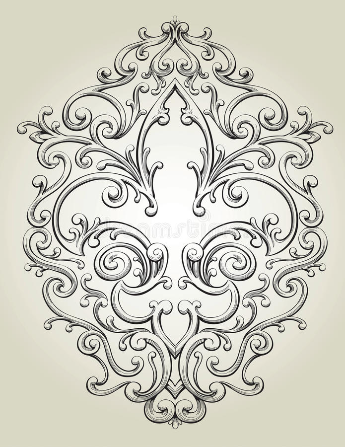 Fleur de Lis Frame illustration stock