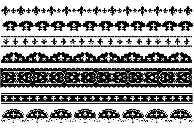 Fleur DE lis gratineerde vectorgrenzen royalty-vrije illustratie