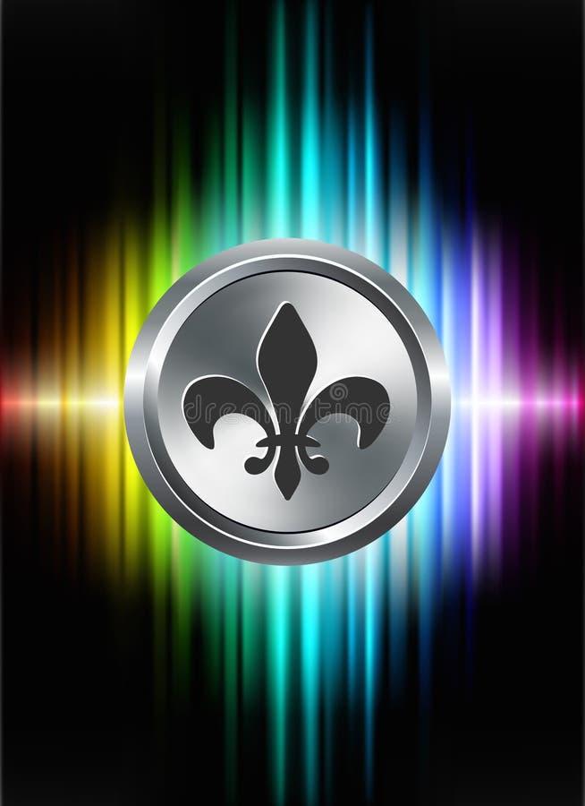 Fleur De Lis Icon Button no fundo abstrato do espectro ilustração do vetor