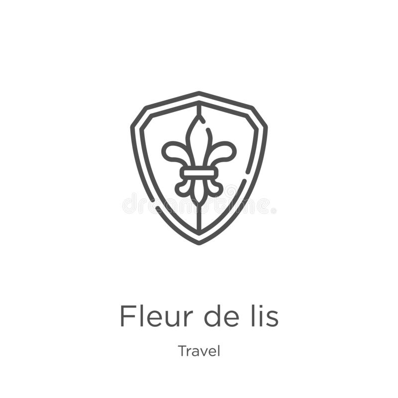 Fleur de lis icon vector from travel collection. Thin line fleur de lis outline icon vector illustration. Outline, thin line fleur. Fleur de lis icon. Element of vector illustration