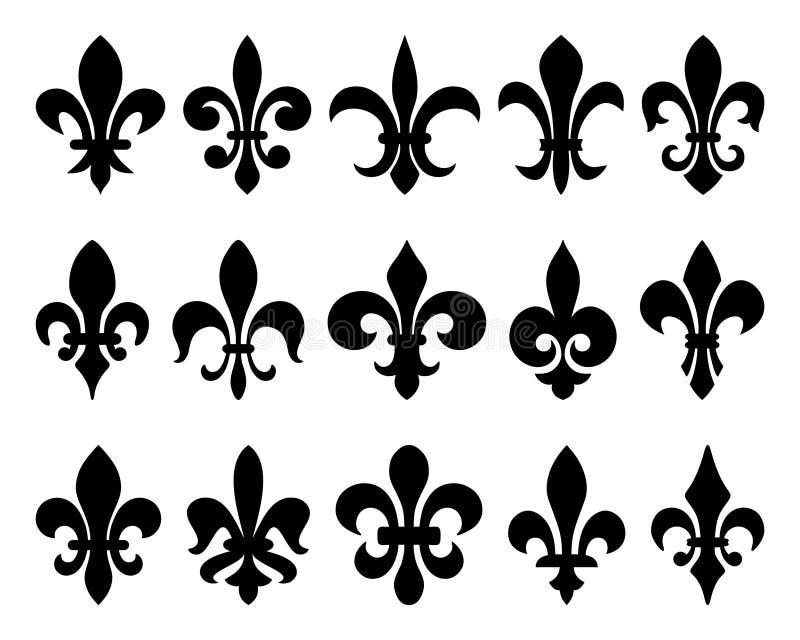 Fleur-de-lis (liljablommor) royaltyfri illustrationer