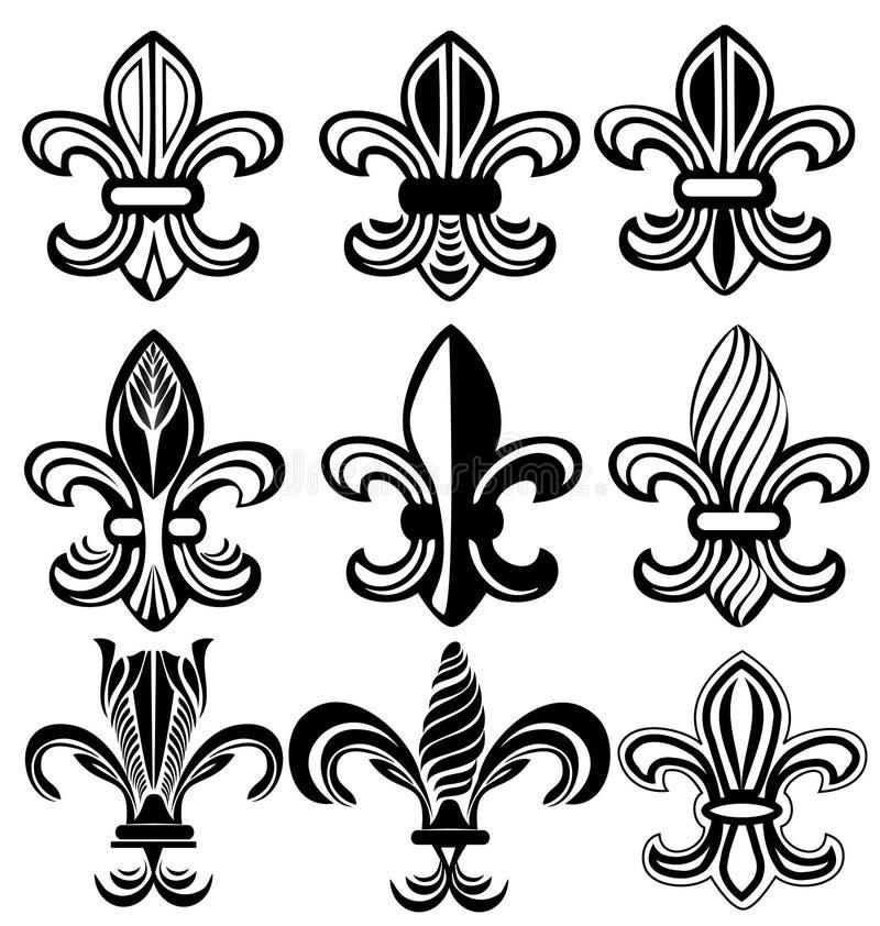Fleur De Lis New Orleans symbol vektor illustrationer