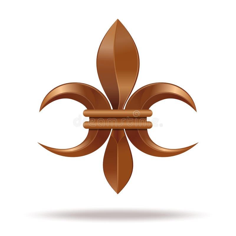 Fleur de lis ou fleur-De-luce d'or Lis stylisé décoratif illustration libre de droits