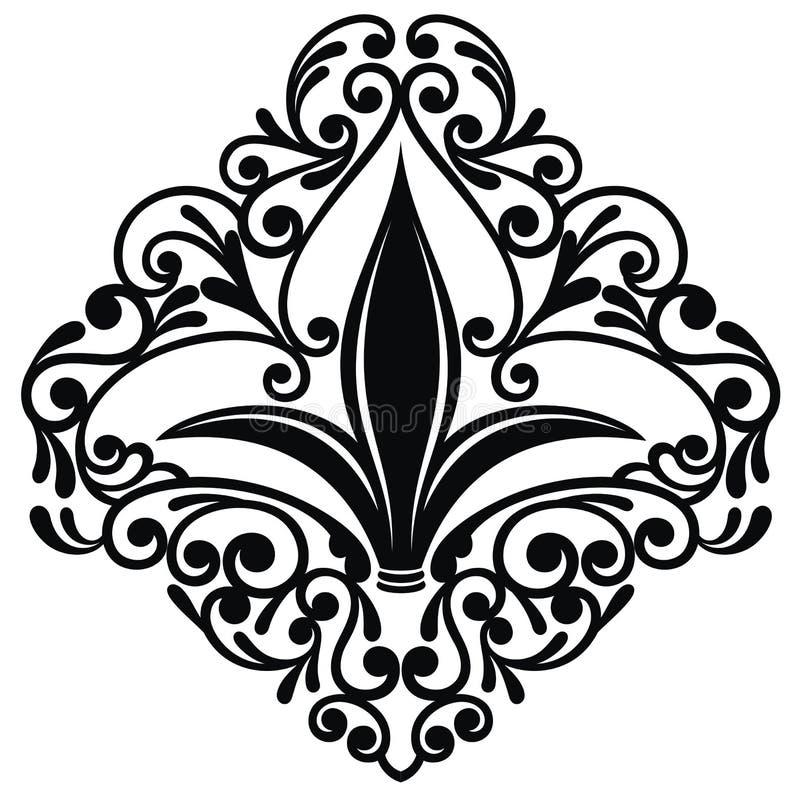Fleur de lis ou icône de fleur de lis pour des cartes de voeux illustration stock