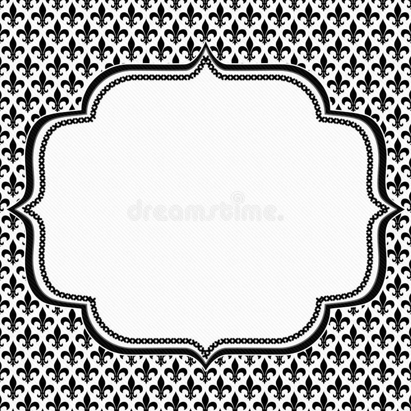 Fleur De Lis Pattern Textured Fabric noire et blanche avec Embroi illustration de vecteur