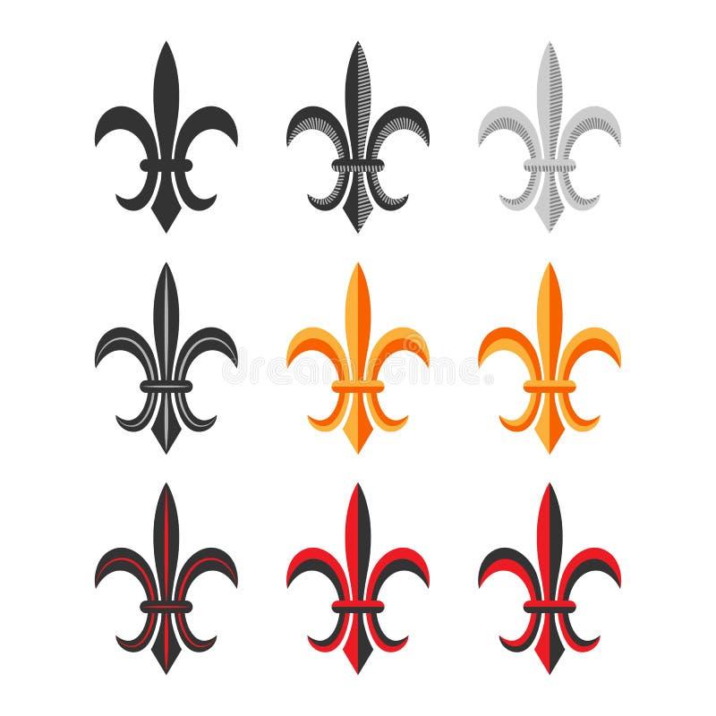 Fleur De Lis Royal Symbol Set. Vektor royaltyfri illustrationer