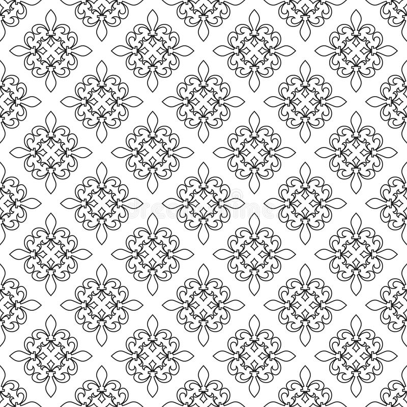 Fleur De Lis Seamless Pattern Vector Illustration Black White