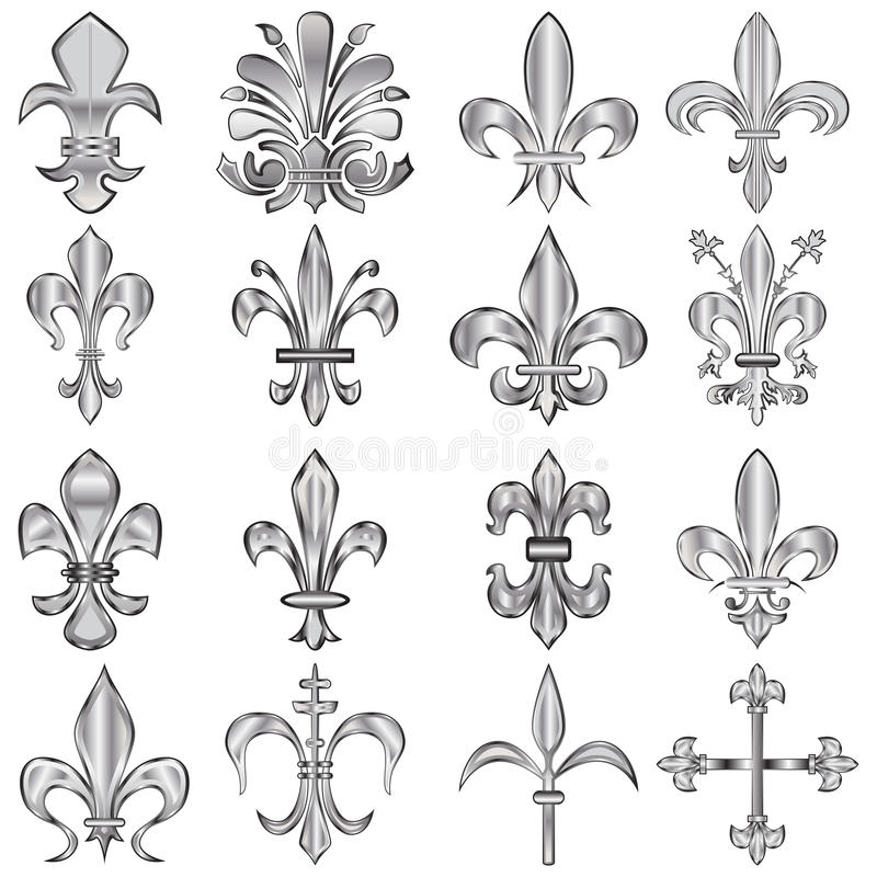 Fleur-de-lis set stock illustration