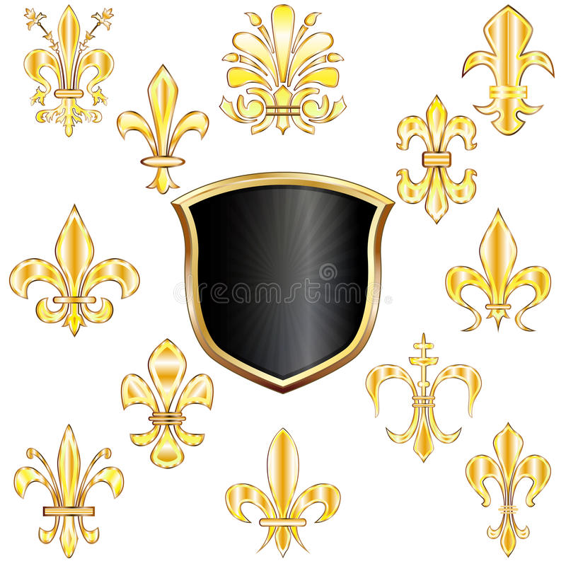 Fleur-de-lis and shield stock illustration