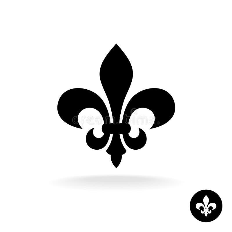 Fleur De Lis sylwetki prosty elegancki czarny logo royalty ilustracja