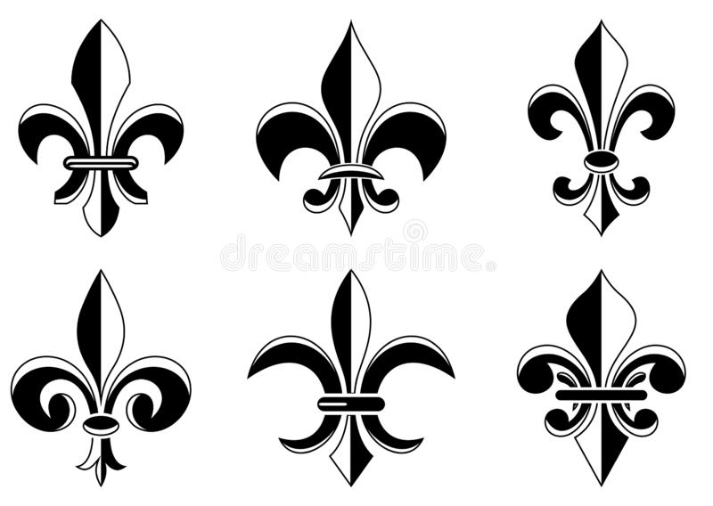 Fleur-de-lis symbol in different variations on a white isolated background.  vector illustration