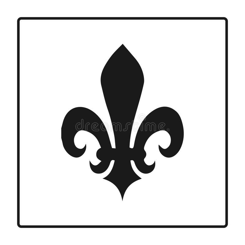 Fleur de lis symbol, kontur - heraldiskt symbol också vektor för coreldrawillustration Medeltida tecken Glödande fransman fleur d stock illustrationer