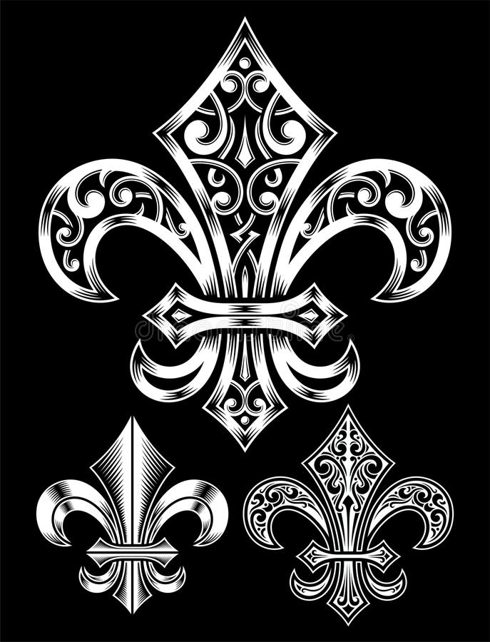 Fleur De Lis Vector Set fleurie illustration stock