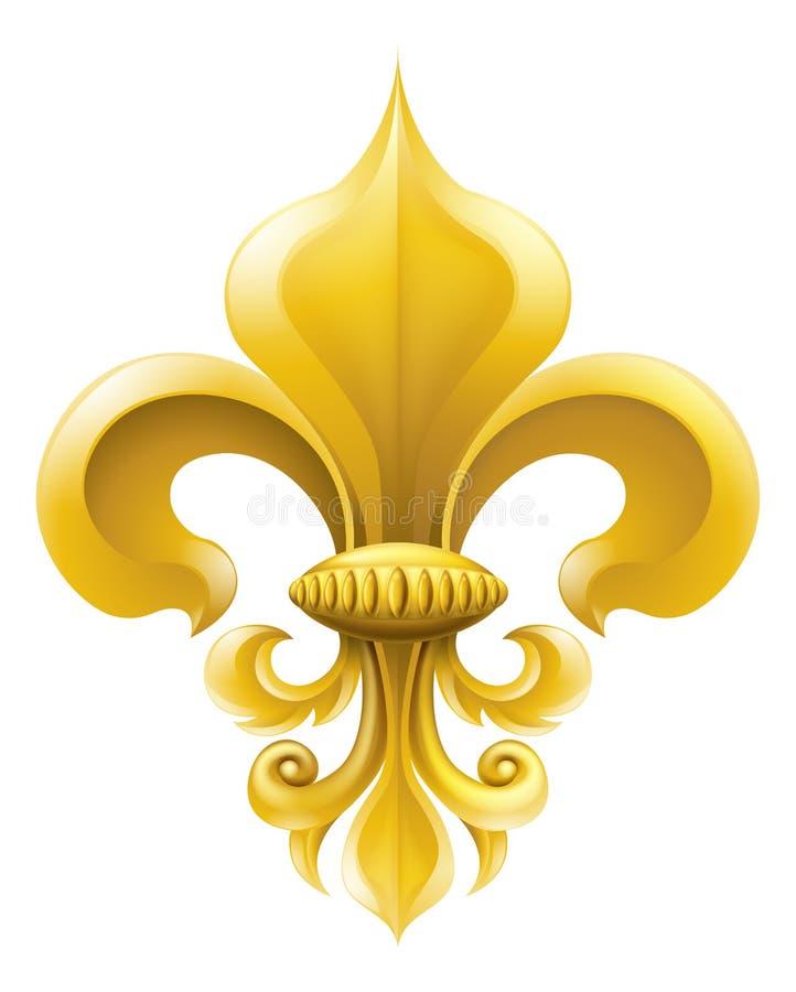 Fleur-de-lis złota ilustracja ilustracji