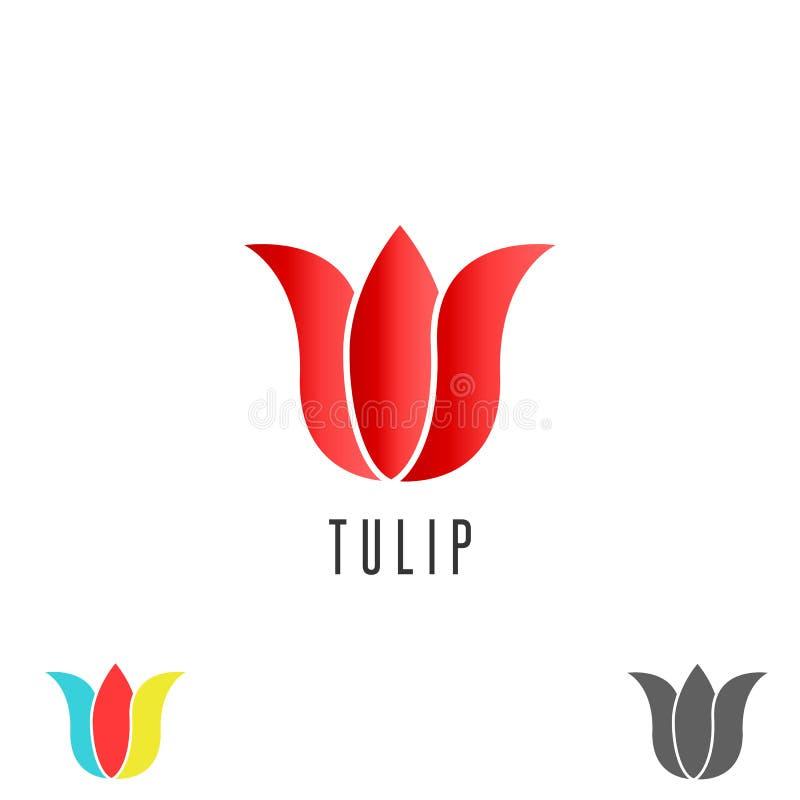 Fleur de logo de tulipe, emblème simple de station thermale cosmétique de maquette, emblème créatif de salon de beauté illustration stock