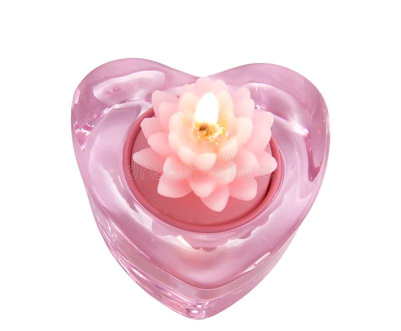 Fleur de lotus aromatique de bougie dans une glace candlestic images libres de droits