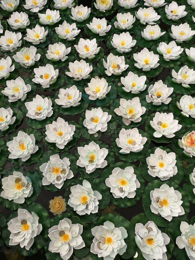 Fleur de lotus artificielle avec des pièces de monnaie de baht photographie stock libre de droits