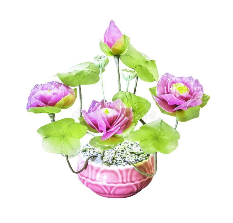 Fleur de lotus artificielle de bouquet d'isolement photographie stock