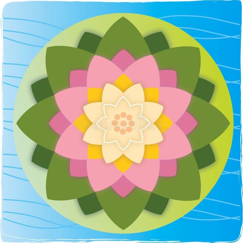 Fleur de lotus avec la lame sur l'eau illustration stock