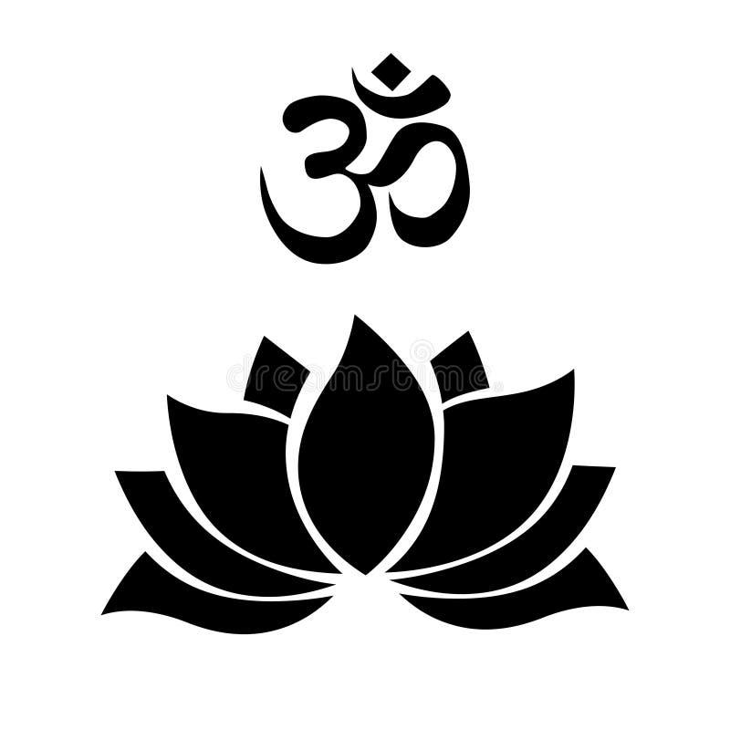 Fleur de lotus d'OM illustration de vecteur