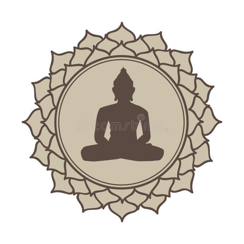 Fleur de lotus méditative de Bouddha illustration de vecteur