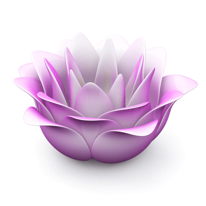 Fleur de lotus rose, 3d illustration de vecteur