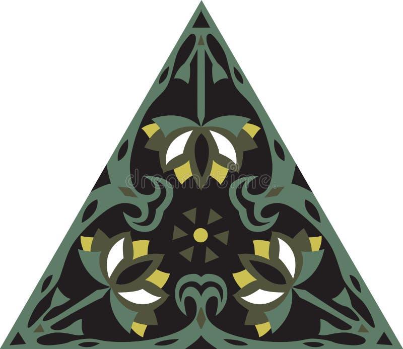 Fleur de lotus traditionnelle chinoise orientale de triangle de modèle illustration libre de droits