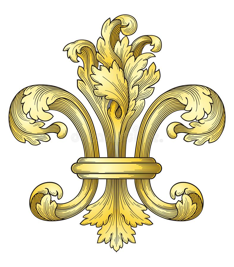 Fleur-de-lys d'or illustration de vecteur
