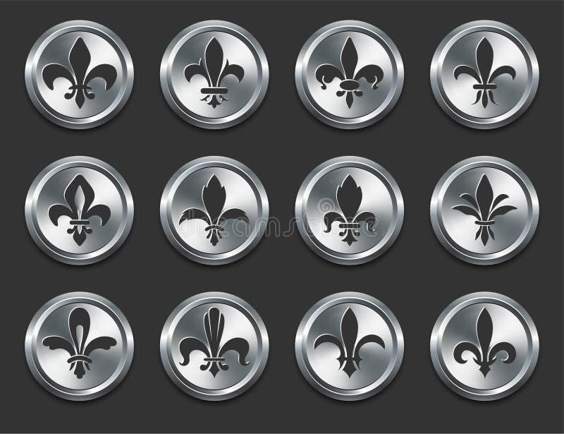 Fleur de Lys Icons sur des boutons d'Internet en métal illustration de vecteur