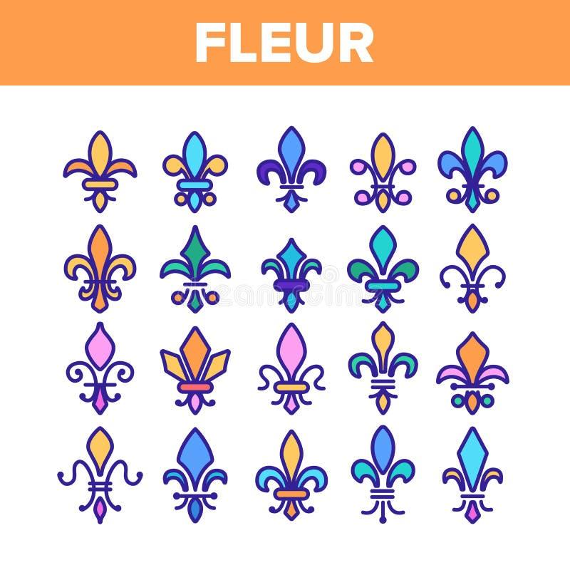 Fleur De Lys, królewskość Liniowe Wektorowe ikony Ustawiać royalty ilustracja