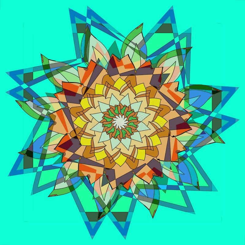 FLEUR DE MANDALA D'ÉTOILES FOND BLEU VERT SIMPLE CONCEPTION CENTRALE DANS BLEU, ORANGE, JAUNE, BROWN ET BEIGE illustration de vecteur