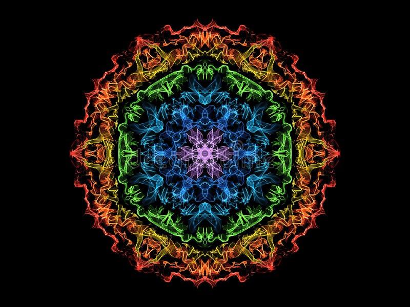 Fleur de mandala de flamme d'abrégé sur arc-en-ciel, modèle rond floral ornemental au néon sur le fond noir Th?me de yoga illustration de vecteur