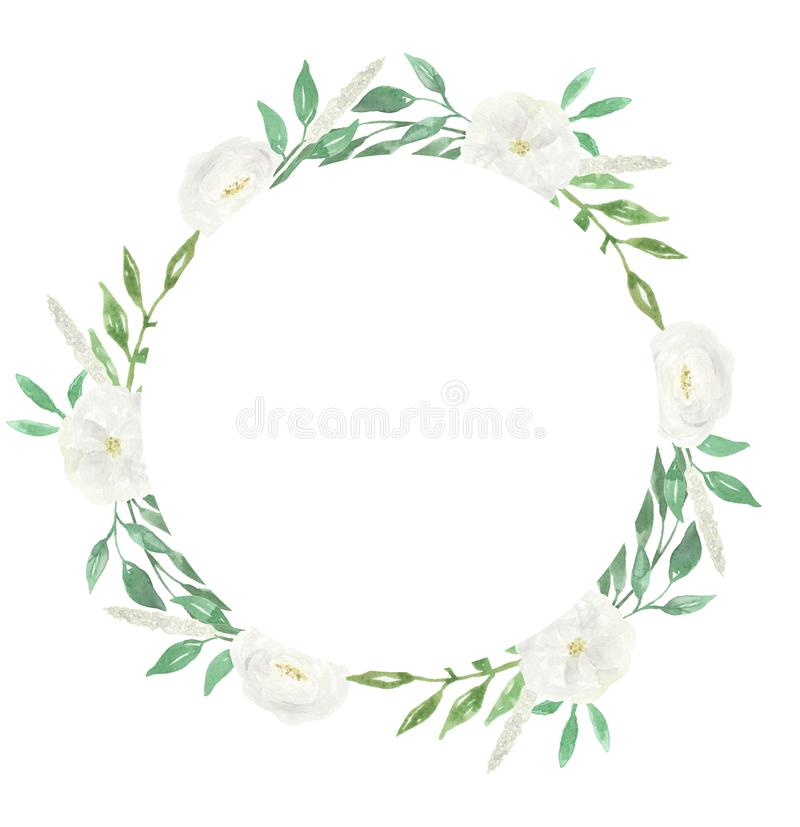 Fleur de mariage de Garland Watercolour Frame White Wreath illustration stock
