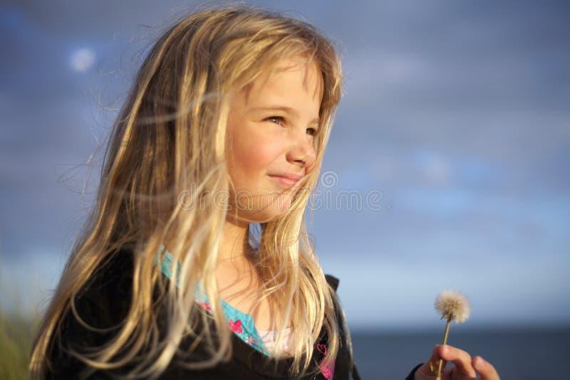 Fleur de pissenlit de fixation de petite fille photo libre de droits