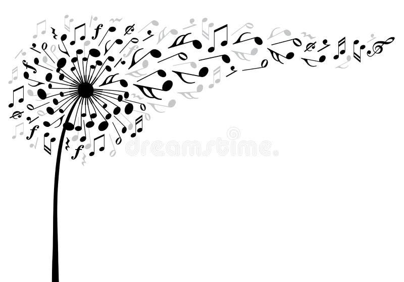 Fleur de pissenlit de musique, vecteur illustration de vecteur