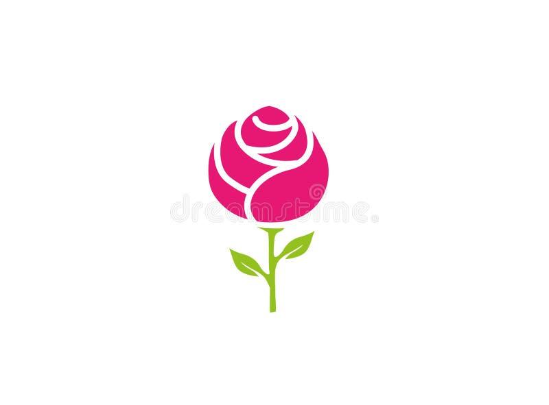 Fleur de Rose avec la conception de logo de feuilles illustration stock