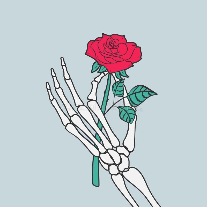 Fleur de Rose dans la main squelettique Vecteur illustration libre de droits