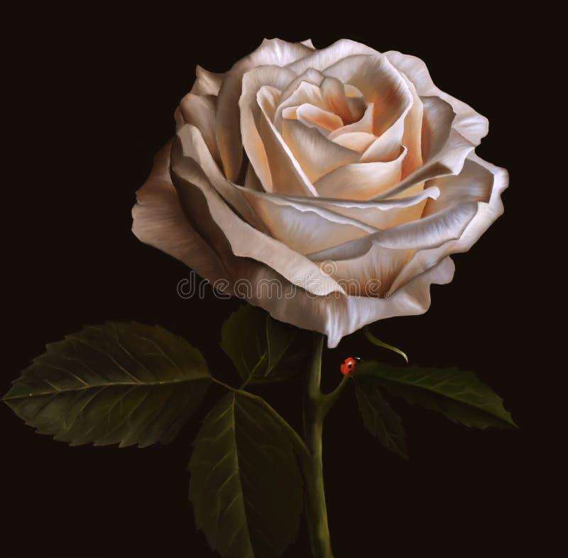 Fleur de rose de blanc sur le fond foncé fleuve de peinture à l'huile d'horizontal de forêt illustration stock