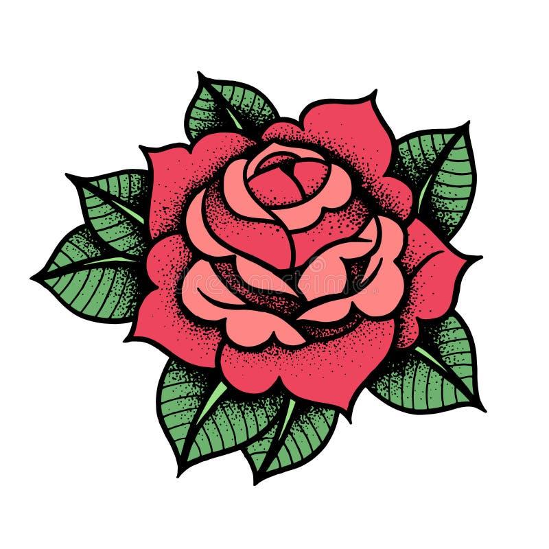 Fleur de Rose de tatouage Vecteur d'isolement par art d'illustration de vecteur illustration stock