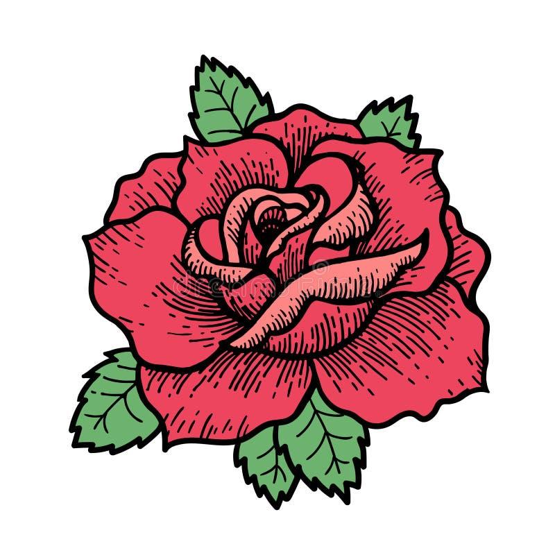 Fleur de Rose de tatouage Vecteur d'isolement par art d'illustration de vecteur images stock