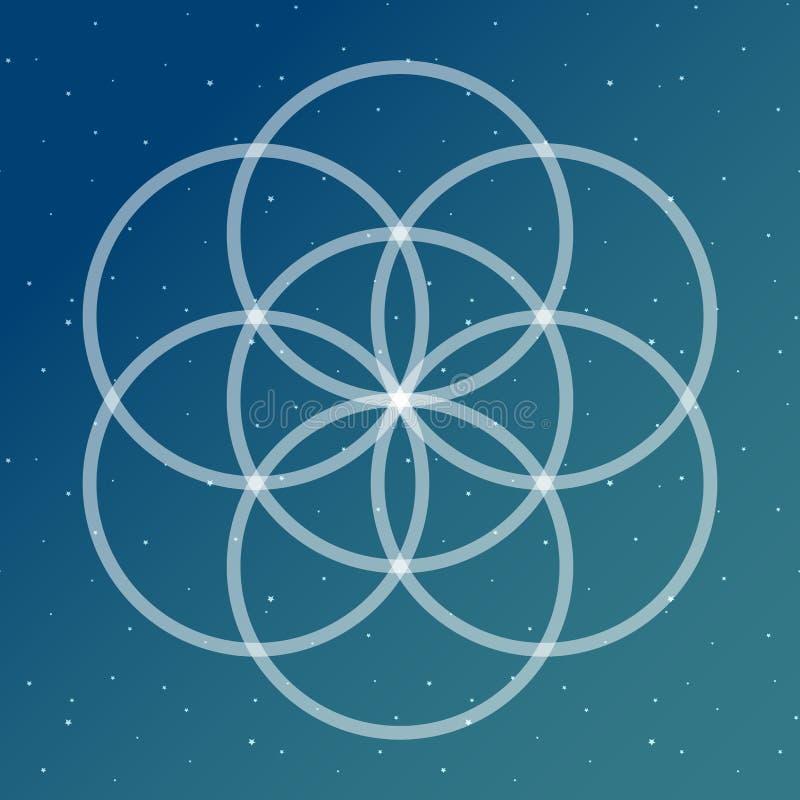 Fleur de symbole de la vie sur un interlockin cosmique de bleu et de turquoise illustration libre de droits