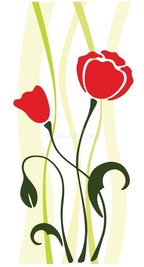 Fleur de vecteur de pavot illustration de vecteur
