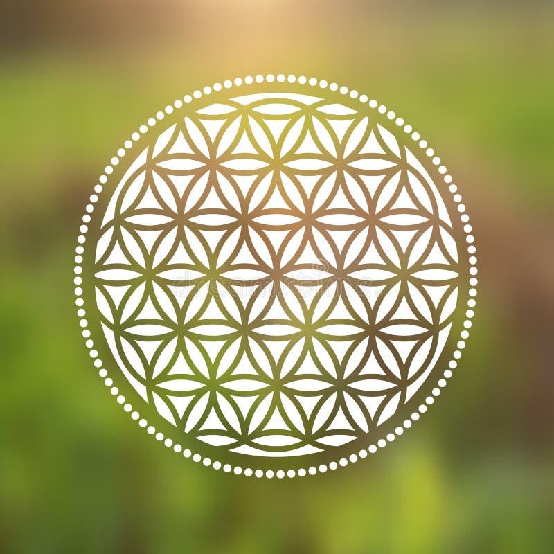Fleur de vecteur de symbole de la vie sur un fond naturel illustration stock