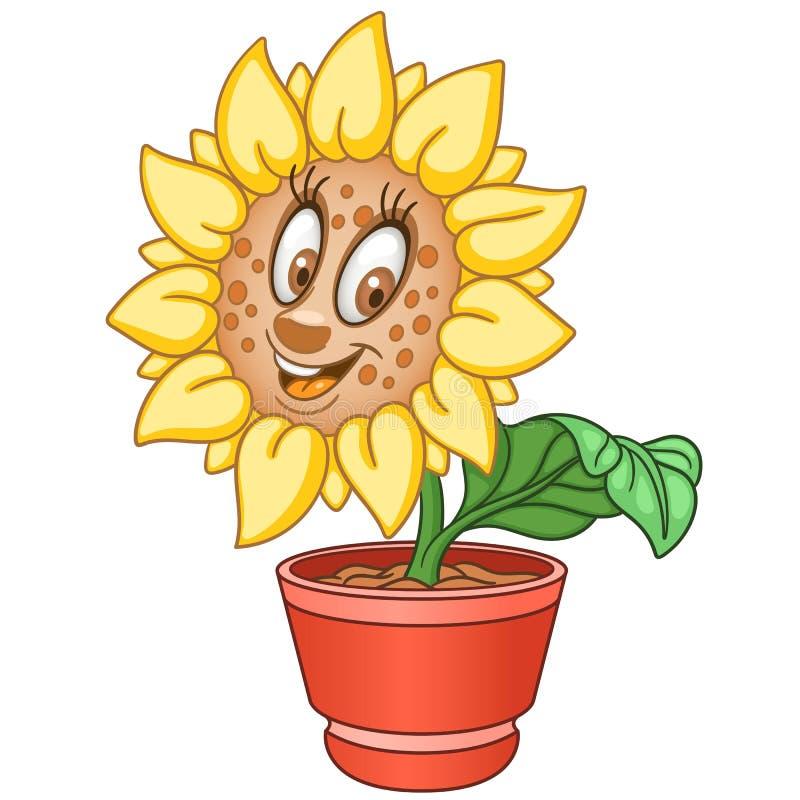 Fleur du soleil de bande dessinée illustration libre de droits