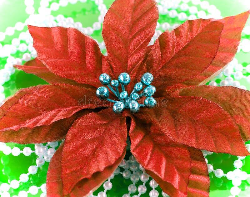 Fleur en soie de poinsettia avec des perles photos stock