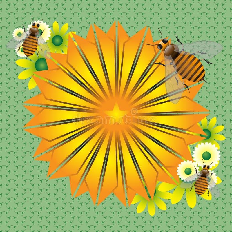 Fleur et abeilles jaunes illustration de vecteur