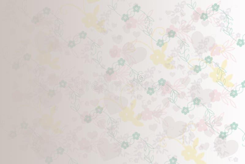 Fleur et coeur doux colorés mignons de fond illustration de vecteur