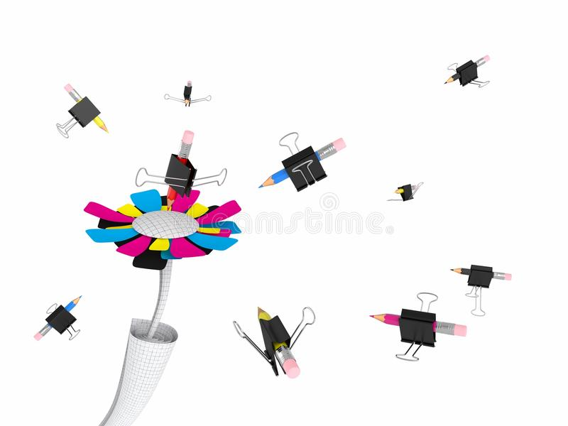 Fleur et crayon-abeilles de CMYK illustration libre de droits